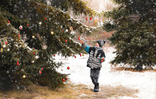 Young Boy Decorating Tree Outdoors In The Snow With Christmas Balls.