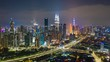night illumination kuala lumpur cityscape downtown traffic road jam aerial panorama 4k timelapse malaysia