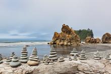 Stacked Stones On Ruby Beach, Forks, Washington, United States