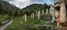 Carved Totem Poles On Mt. Blanc Trail, Argentiere, France