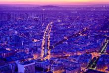 Aerial View Of Paris Cityscape At Night, Paris, Ile De France, France