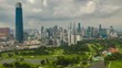 day time kuala lumpur city center golf course aerial panorama 4k timelapse malaysia