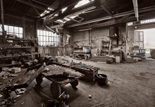 Empty Dilapidated Casting Metalwork Workshop