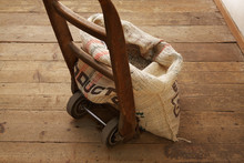Sack Of Coffee Beans On Dolly