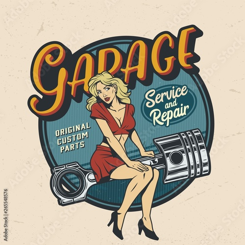 Fototapeta Vintage colorful garage repair service logo
