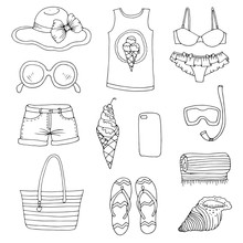 JPEG Drawn Set Icons, Signs Summer Fashion Beachwear And Accessories. Collection Summer Elements For Summer Holiday And Party. Set Collection For Design Card And Print On T-shirt Coloring Page
