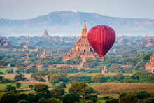 Hot Air Balloon Flying Over To...