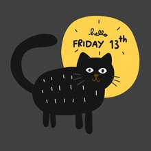 Friday 13th Black Cat And Full Moon Cartoon Vector Illustration