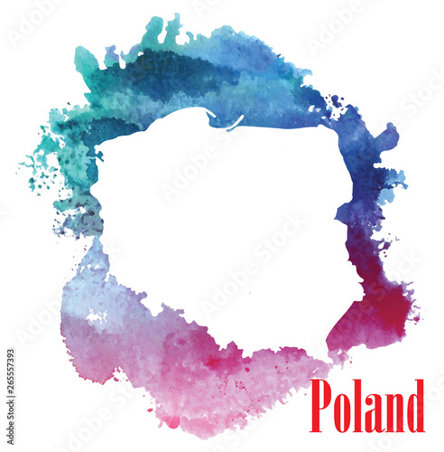 Fotografía Poland. Map of the country. Stylized card and watercolor stains.