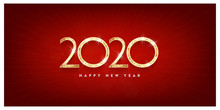 Happy New Year 2020 Gold Text Design. Vector Greeting Illustration With Golden Numbers Blue Background Vector Illustration