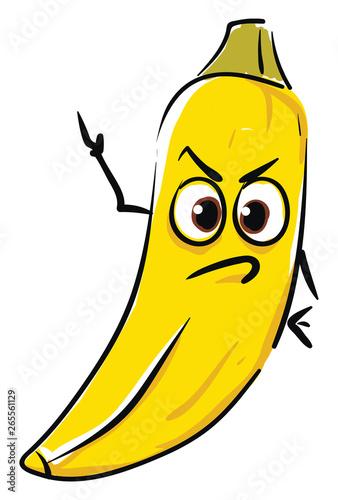 Fotografia An angry banana vector or color illustration