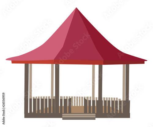 Well constructed gazebo vector or color illustration Canvas Print