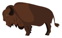Clipart Of A Brown Bison Vector Or Color Illustration