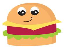 Emoji Of A Smiling Cute Hamburger Vector Or Color Illustration