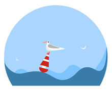 Portrait Of A Gull Bird On A Buoy Vector Or Color Illustration