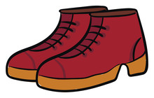 Clipart Of A Pair Of Red-colored Cut Shoes Vector Or Color Illustration