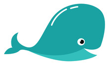 Clipart Of A Blue-colored Whal...