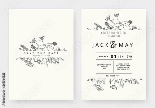 Obraz Minimalist wedding invitation card template design, floral black line art ink drawing with label on light grey - fototapety do salonu