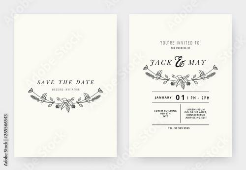 Minimalist Wedding Invitation Card Template Design Floral