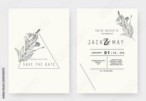 Fototapeta Minimalist Wedding Invitation Card Template Design Floral Black Line Art Ink Drawing With Triangle Frame On Light Grey