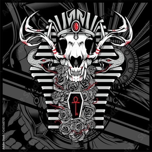Fotografering Anubis God Of The Dead,with snake - Vector