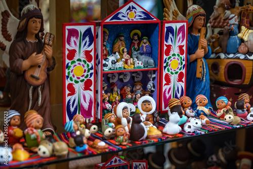 Cuadros en Lienzo Colorful Peruvian artisanal Retablo for sale at street Indian market in Miraflores, Lima