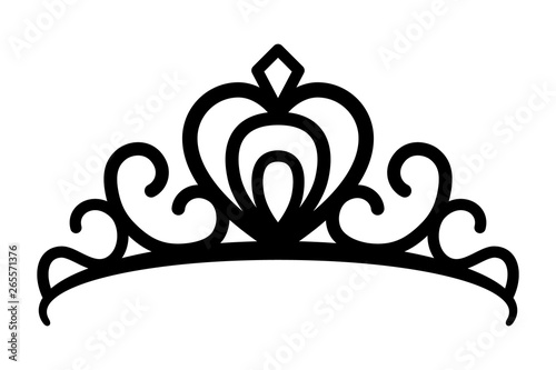 Fotografie, Obraz Princes tiara crown or royal diadem line art vector icon for apps and websites