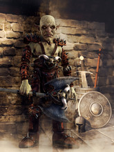 Fantasy Goblin Warrior With An Axe Standing In A Medieval Armory. 3D Render.