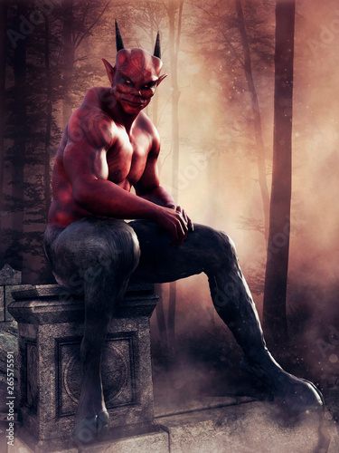 Stampa su Tela Fantasy red devil sitting on a stone in a dark forest at sunset