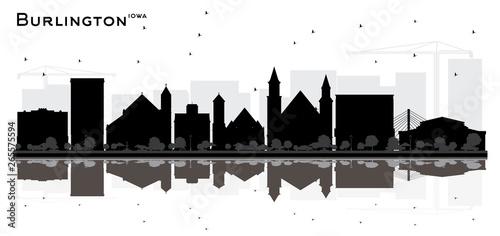 Fototapeta  Burlington Iowa City skyline black and white silhouette with Reflections