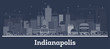 Outline Indianapolis Indiana City Skyline with White Buildings.