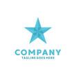 Star Geometric Logo With Full Flat Style Blue