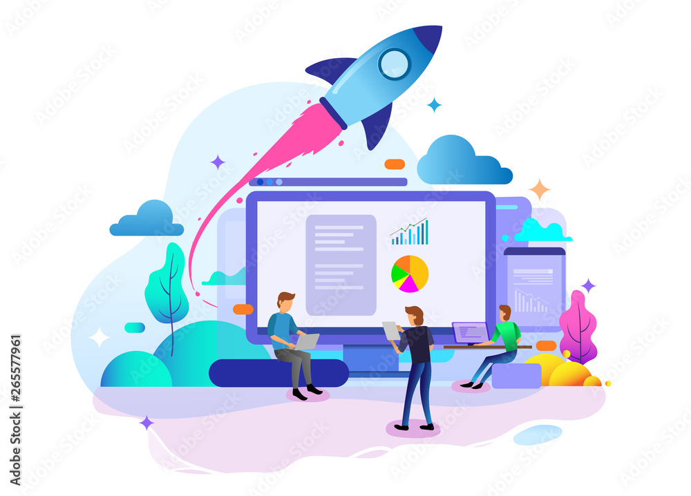 Fototapety, obrazy: Landing page design concept of Startup Business, business strategy, analytics and brainstorming. Vector illustration concepts for website design ui/ux and mobile website development.