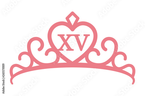 Fototapeta Quinceañera or quinceanera crown tiara with the number 15 inside line art vector