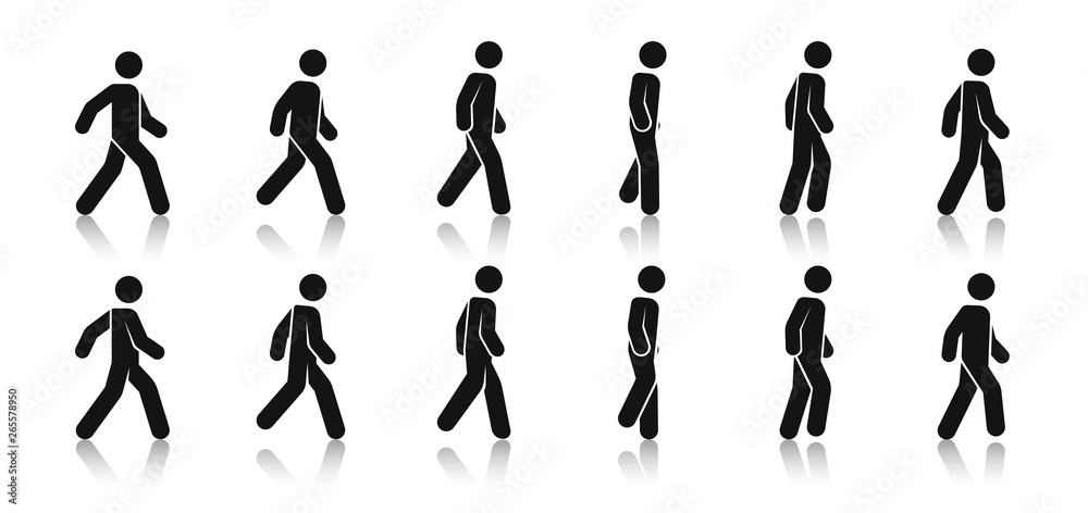 Fototapety, obrazy: Stick figure walk. Walking animation. Posture stickman. People icons set. Man in different poses and positions. Black silhouette. Simple cute modern design. Flat style vector illustration.
