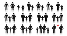 Stick Figure Family. Different...