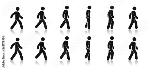 Obraz Stick figure walk. Walking animation. Posture stickman. People icons set. Man in different poses and positions. Black silhouette. Simple cute modern design. Flat style vector illustration. - fototapety do salonu