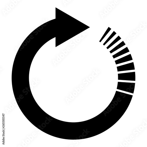 Circle arrow with tail effect Circular arrows Refresh update concept icon black Canvas Print