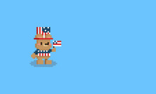 Pixel Cartoon Little Bear With Independence Day Cloth.8bit Character.