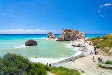 The Famous Beach Of Aphrodite's Rock Or Venus Rock, Petra Tou Romiou, Cyprus