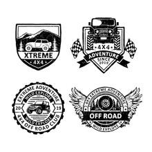Set Of Vintage Offroad Badges Labels, Emblems And Logo