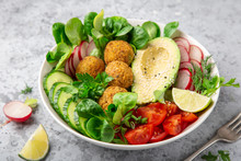 Salad With Avocado, Falafel,cu...