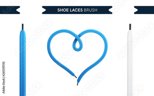 Shoe laces brush set isolated on a white background Tableau sur Toile