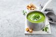 canvas print picture - green pea cream soup