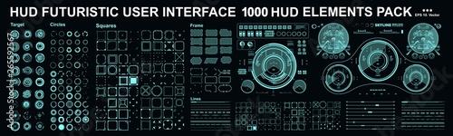 Obraz HUD elements mega set pack. Dashboard display virtual reality technology screen. Futuristic user interface. - fototapety do salonu