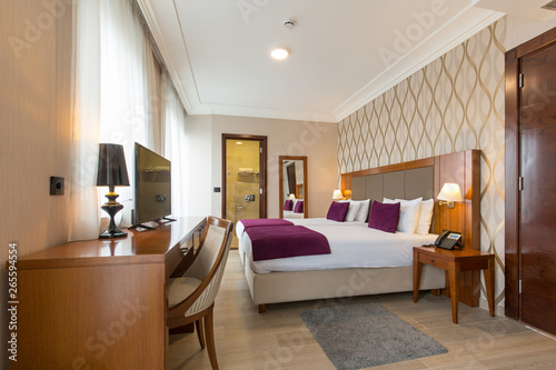 Fototapety, obrazy: Luxury double bed hotel bedroom interior