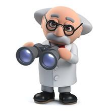 3d Mad Scientist Professor Character Using A Pair Of Binoculars