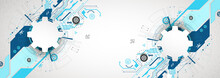 Abstract Technological Background With Various Cogwheels. Vector Illustration.