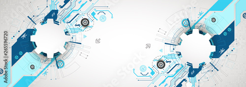 Fototapeta Abstract technological background with various cogwheels. Vector illustration. obraz