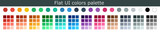 Set of colorful trendy flat color template. Collection palette of flat style color swatches for web design. Trendy colors squares palettes of new season. Vector Illustration. EPS 10